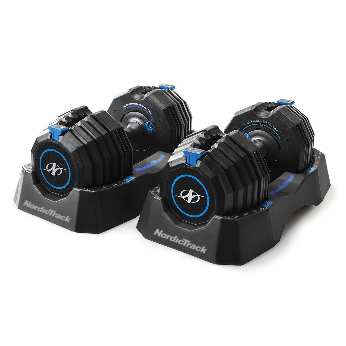 NordicTrack Select-A-Weight 55 lb. Adjustable Dumbbells with Fitted Storage Tray, Sold as Pair