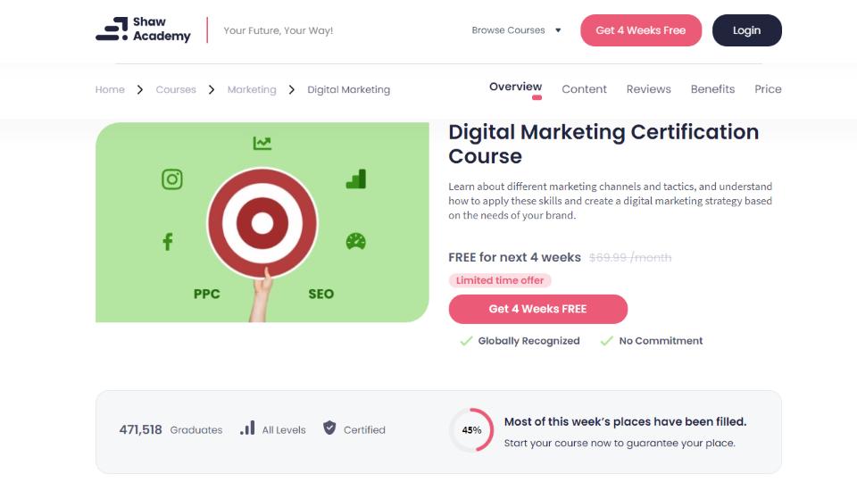 Shaw Academy Digital Marketing Course