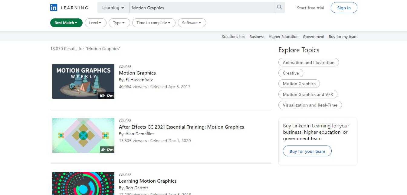 LinkedIn Motion Graphics Courses