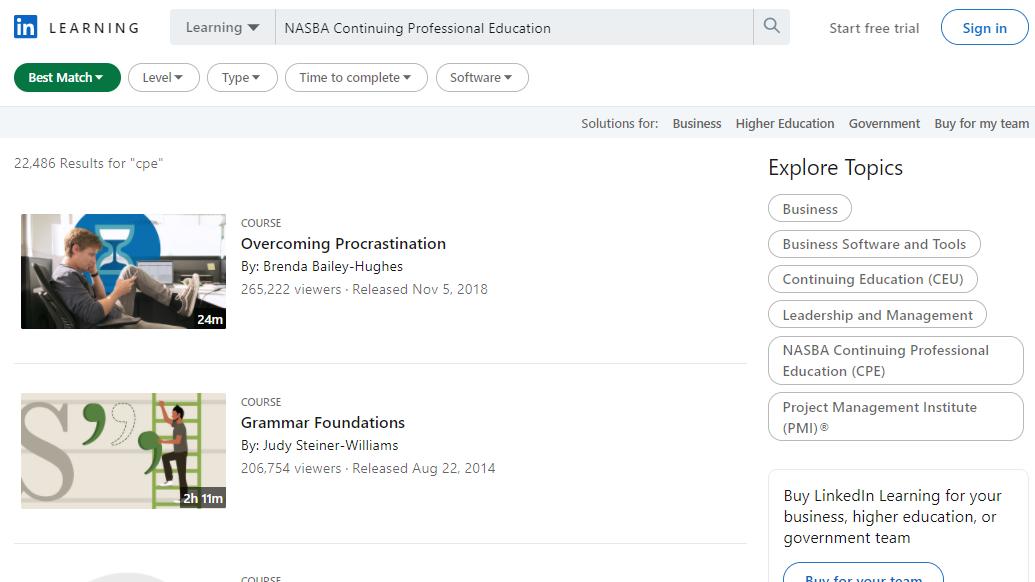 LinkedIn NASBA Continuing Professional Education (CPE)