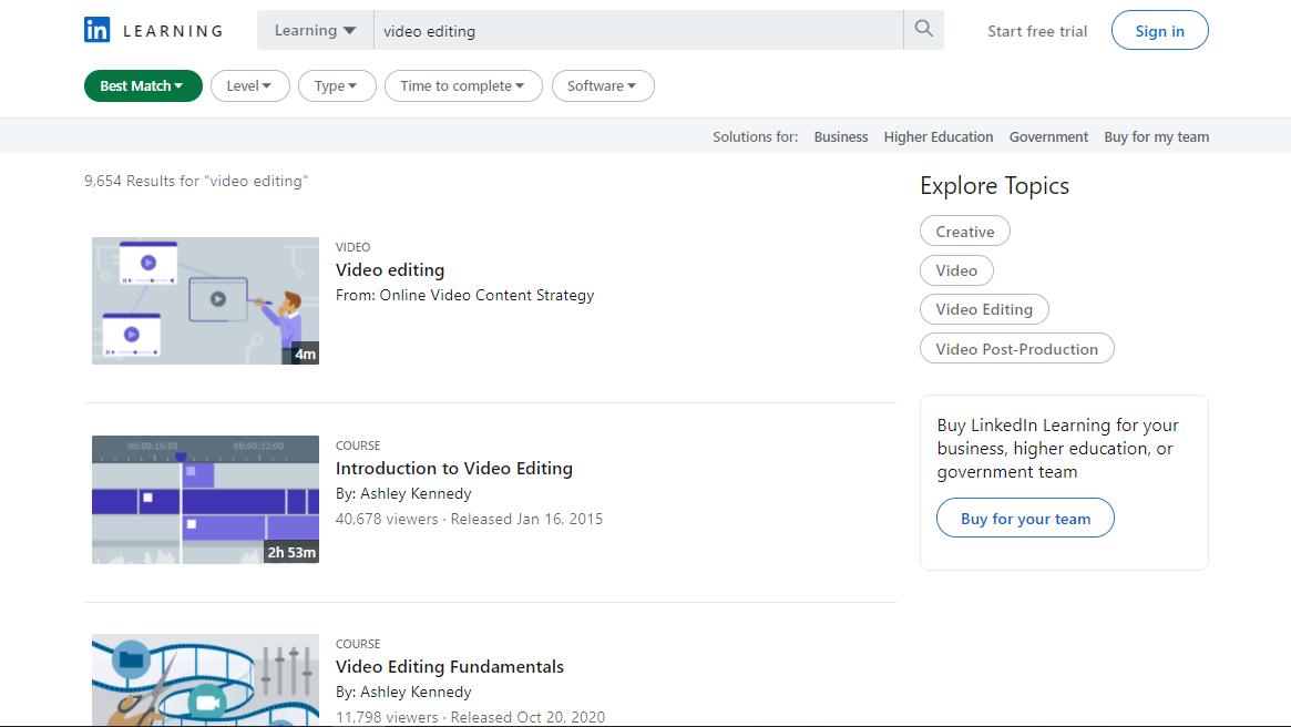 LinkedIn Video Editing Courses