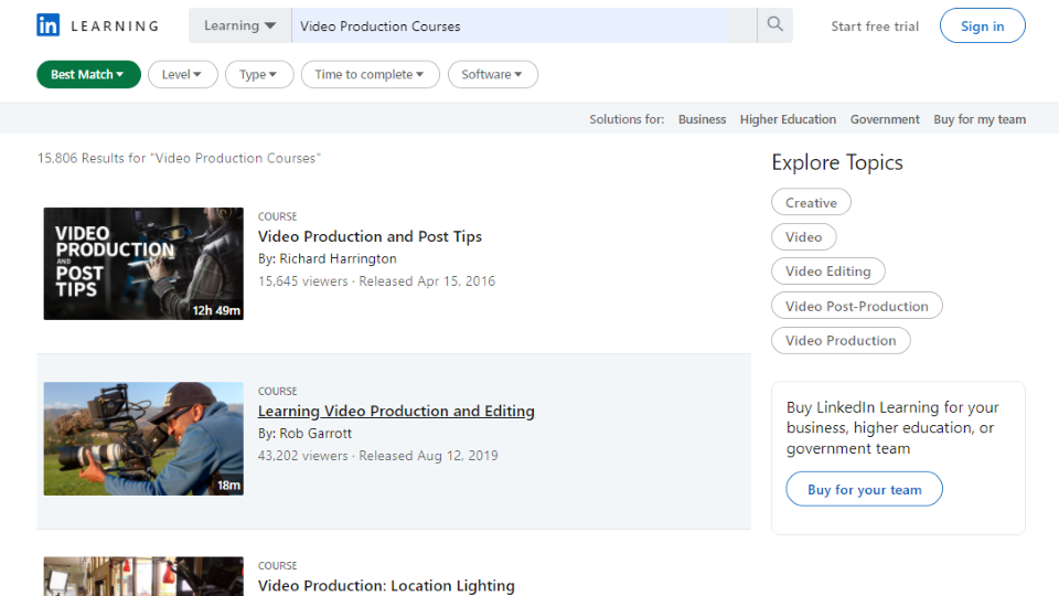 LinkedIn Video Production Courses
