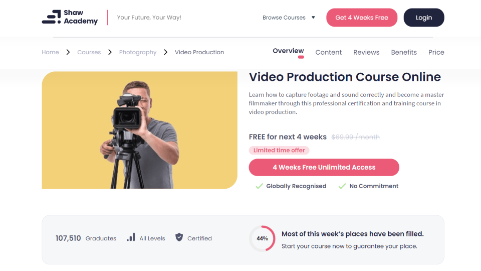 Shaw Academy Video Production Course Online
