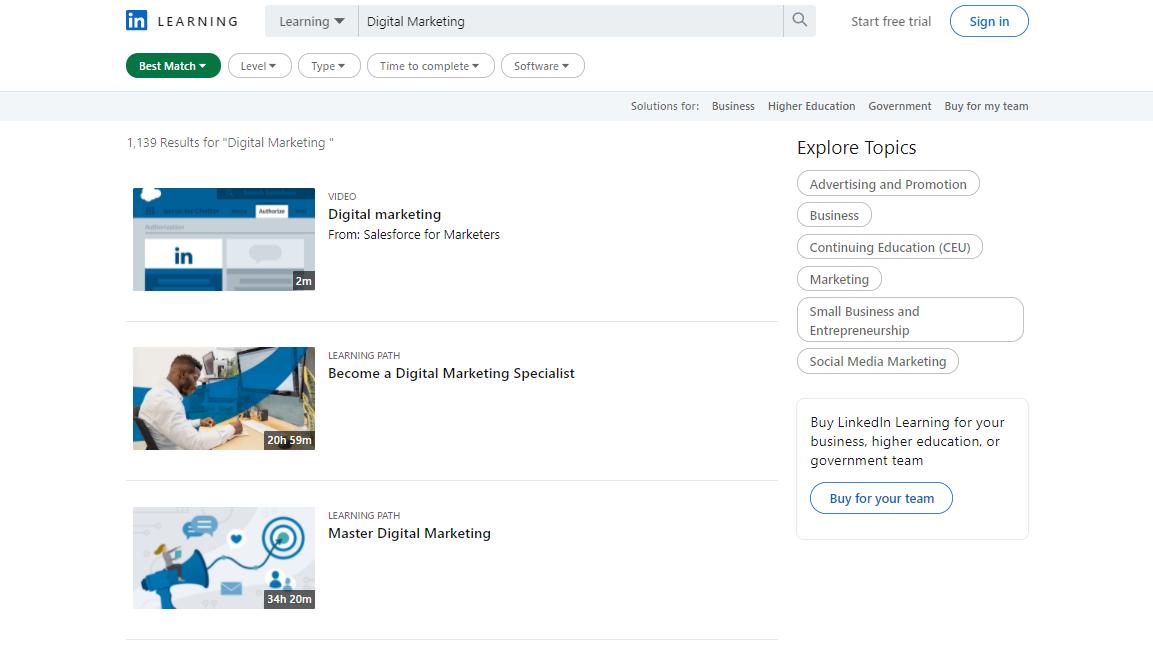 LinkedIn Digital Marketing Courses