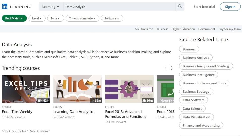 LinkedIn Learning Data Analysis Courses