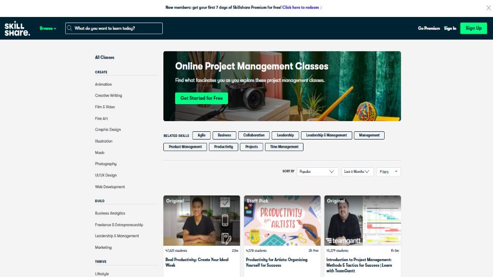 Skillshare Project Management Courses