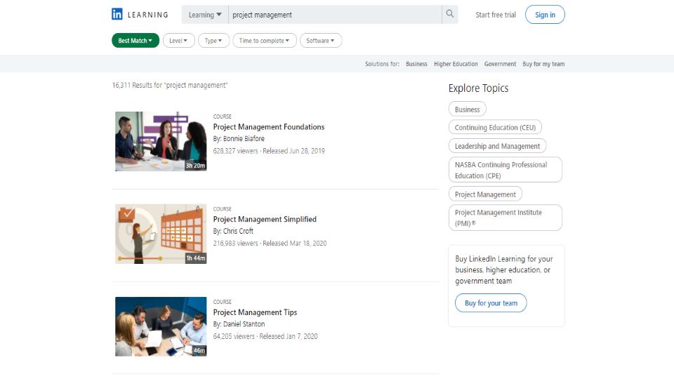 LinkedIn Project Management Courses
