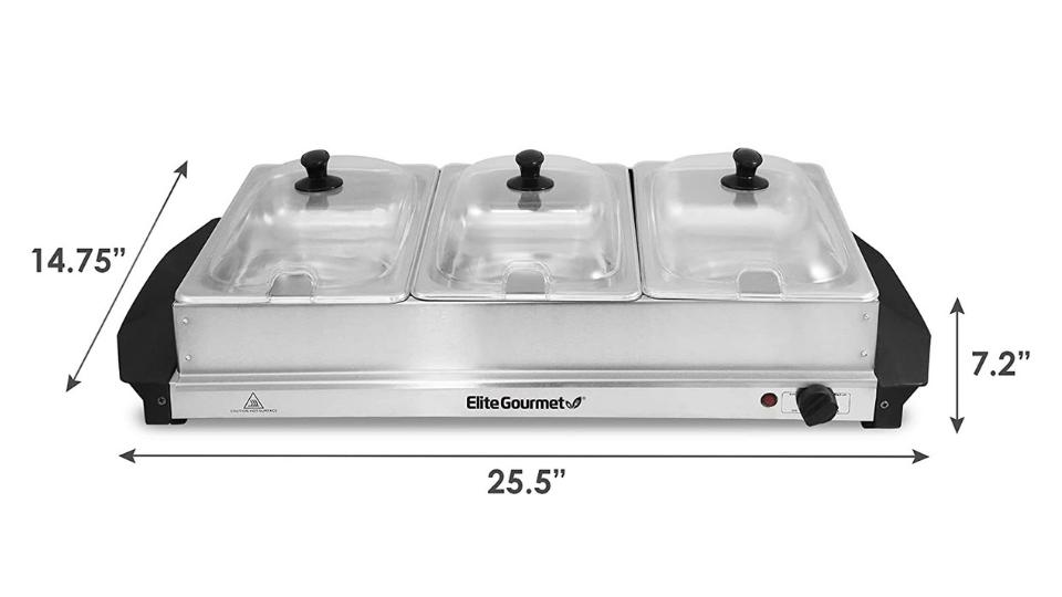Elite Gourmet Stainless Steel Electric Triple Buffet Server