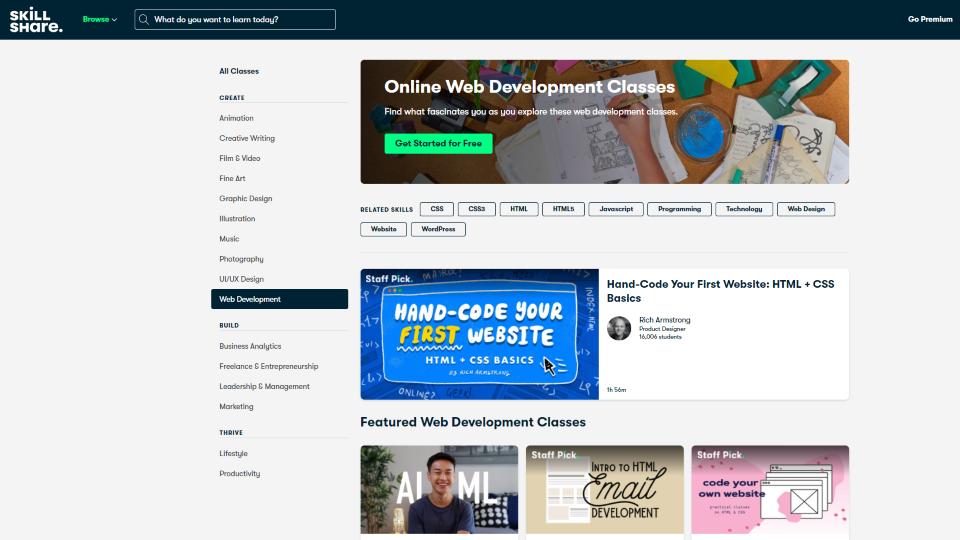 Skillshare Web Development Courses