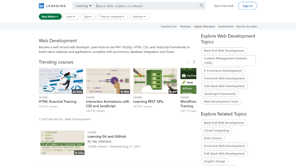 LinkedIn Learning Web Development Courses