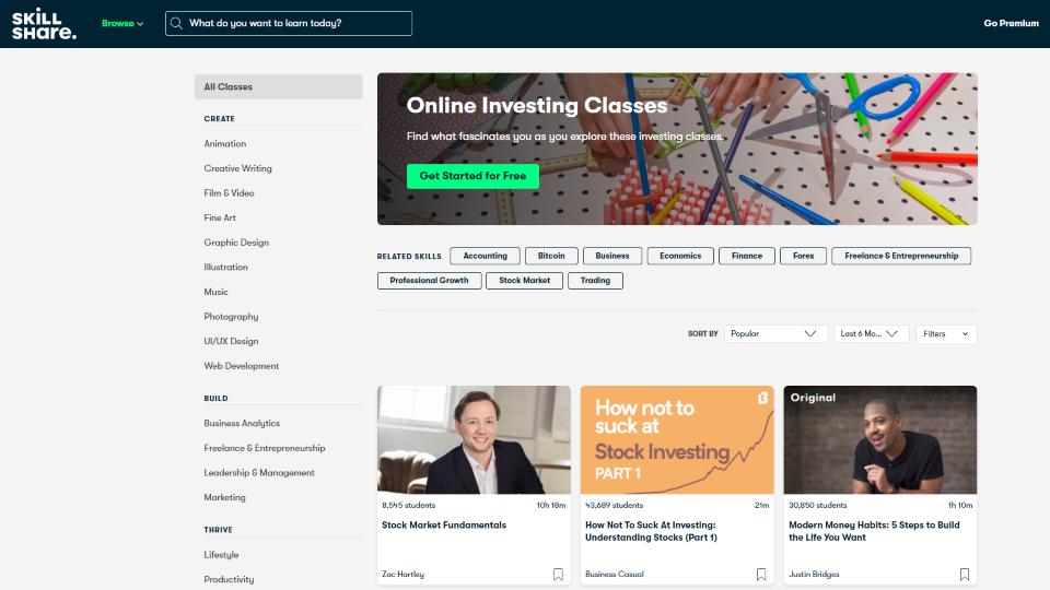 Skillshare Investment Courses