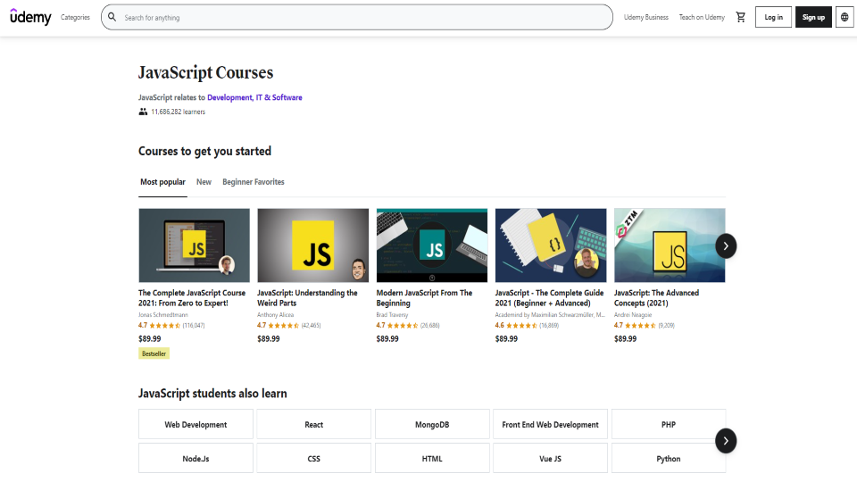 Udemy JavaScript Courses