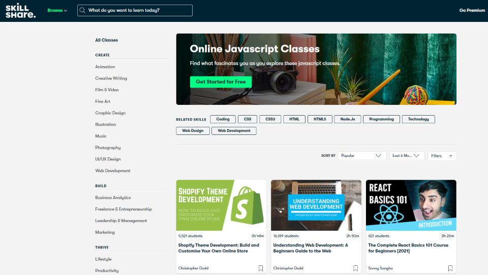 Skillshare Javascript Courses