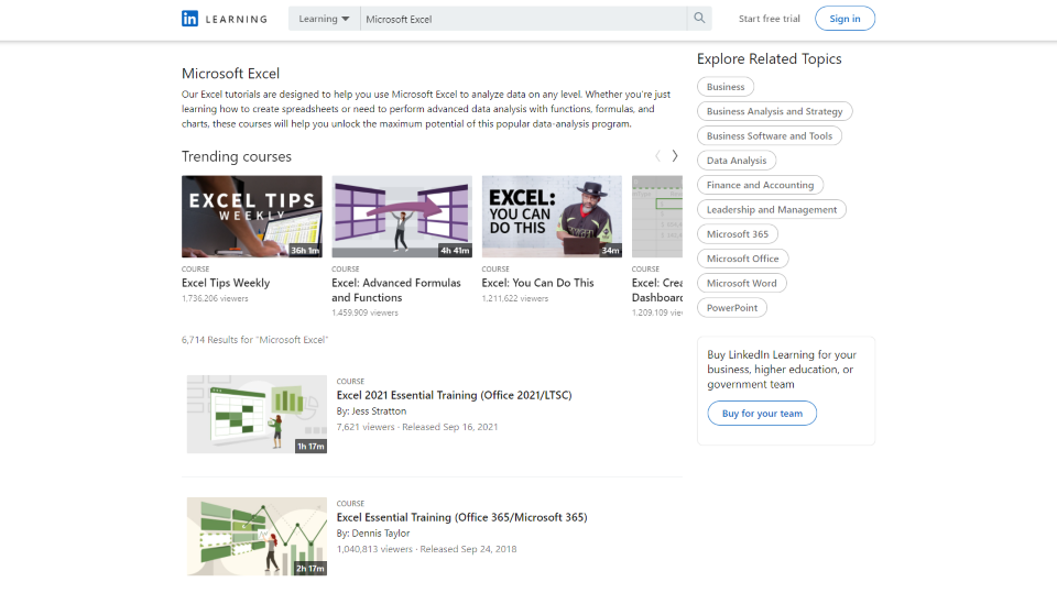 LinkedIn Learning Excel Courses