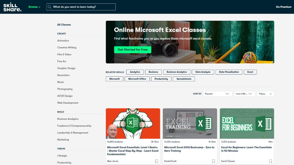 Skillshare Excel Courses