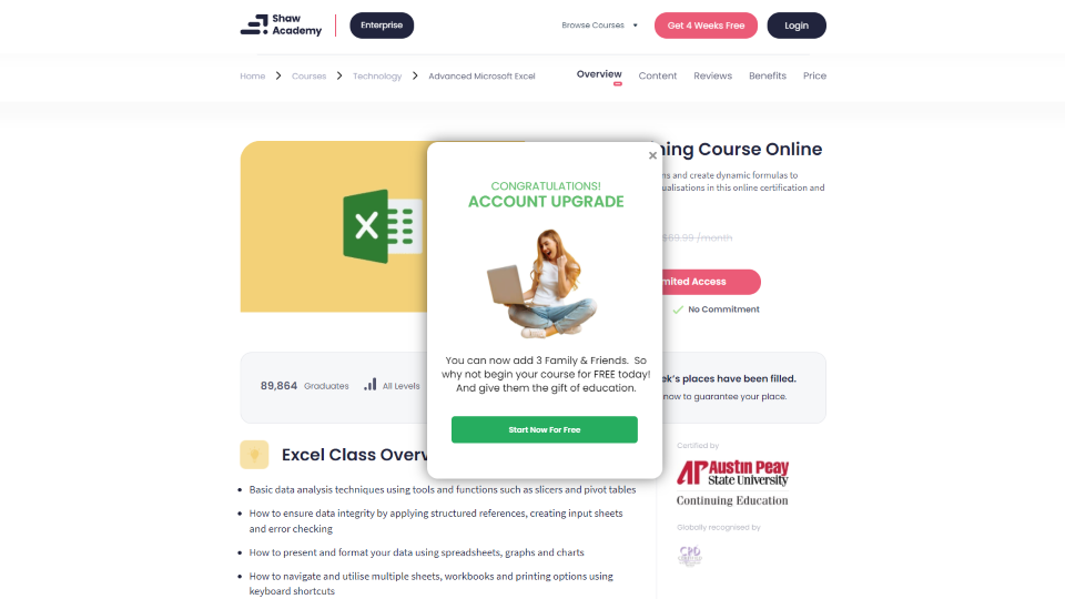 Shaw Academy Excel Courses