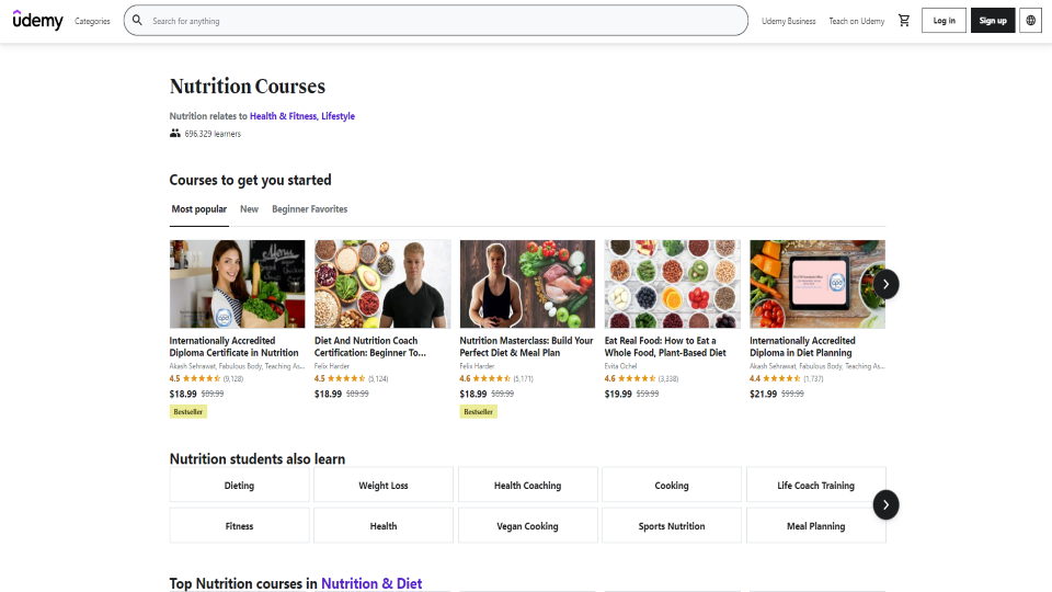 Udemy Nutrition Courses