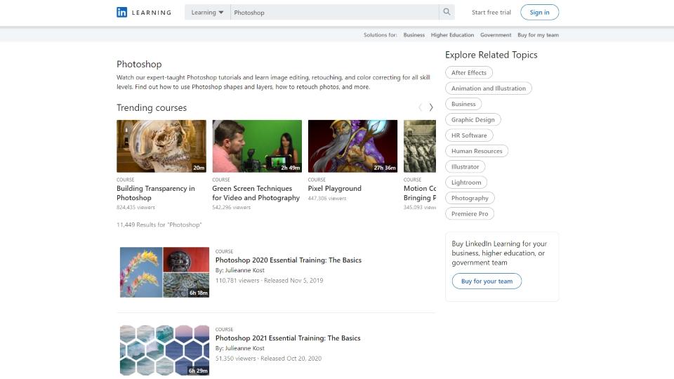 LinkedIn Learning Photoshop Courses