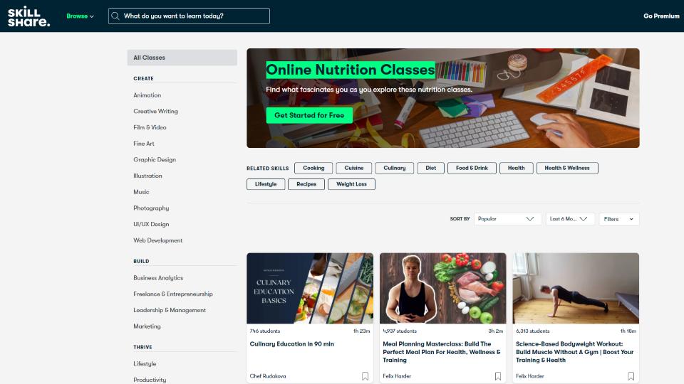 Skillshare Nutrition Courses