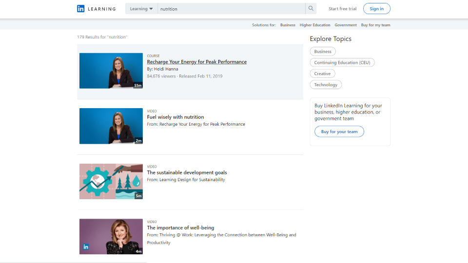 LinkedIn Learning Nutrition Courses